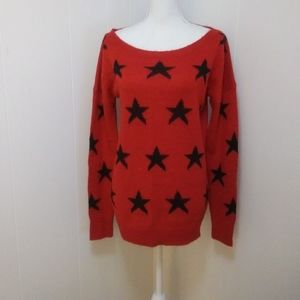 Patriotic pullover stars boat neck sweater